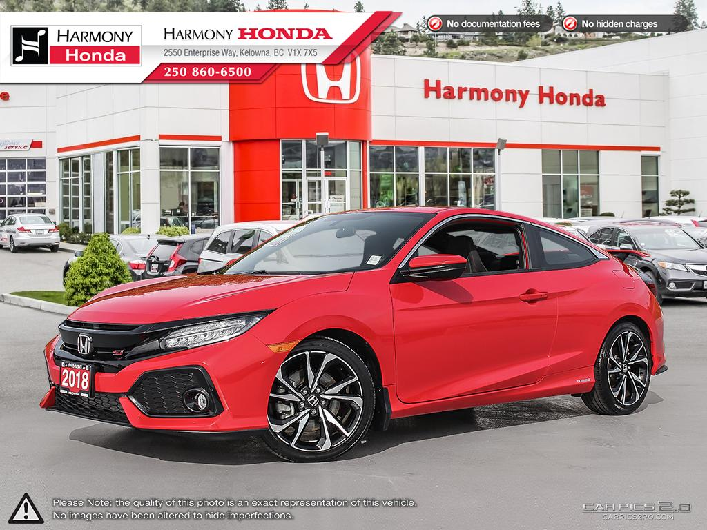 Pre Owned 2018 Honda Civic Coupe Si   NO ACCIDENTS OR DAMAGE   FACTORY  WARRANTY   LOW KMS   LIKE NEW   TURBO   HEATED AND COOLED SEAT