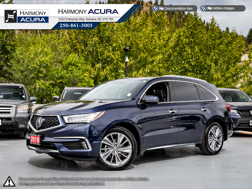 Pre-Owned 2018 Acura MDX ELITE - NO ACCIDENTS/DAMAGE - ACURA CANADA DEMO - FACTORY WARRANTY - FULLY LOADED