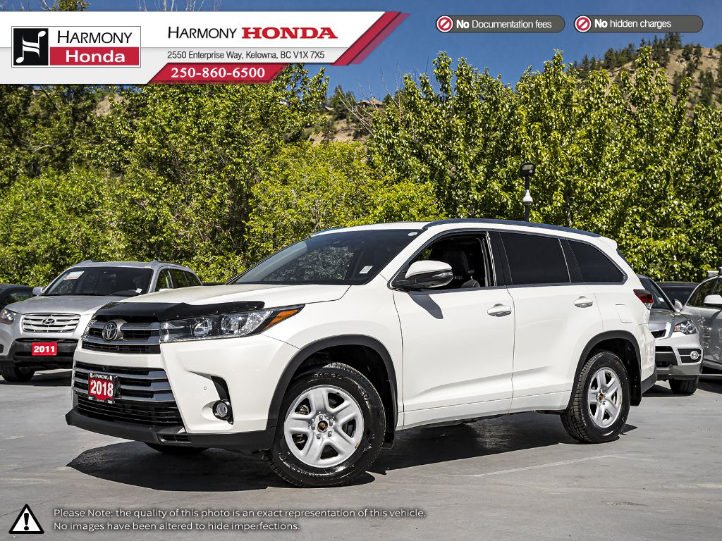 Pre-Owned 2018 Toyota Highlander Limited - BC VEHICLE - NO ACCIDENTS - BACKUP CAM - NAVI SYSTEM - BLUETOOTH - PANORAMIC SUNROOF