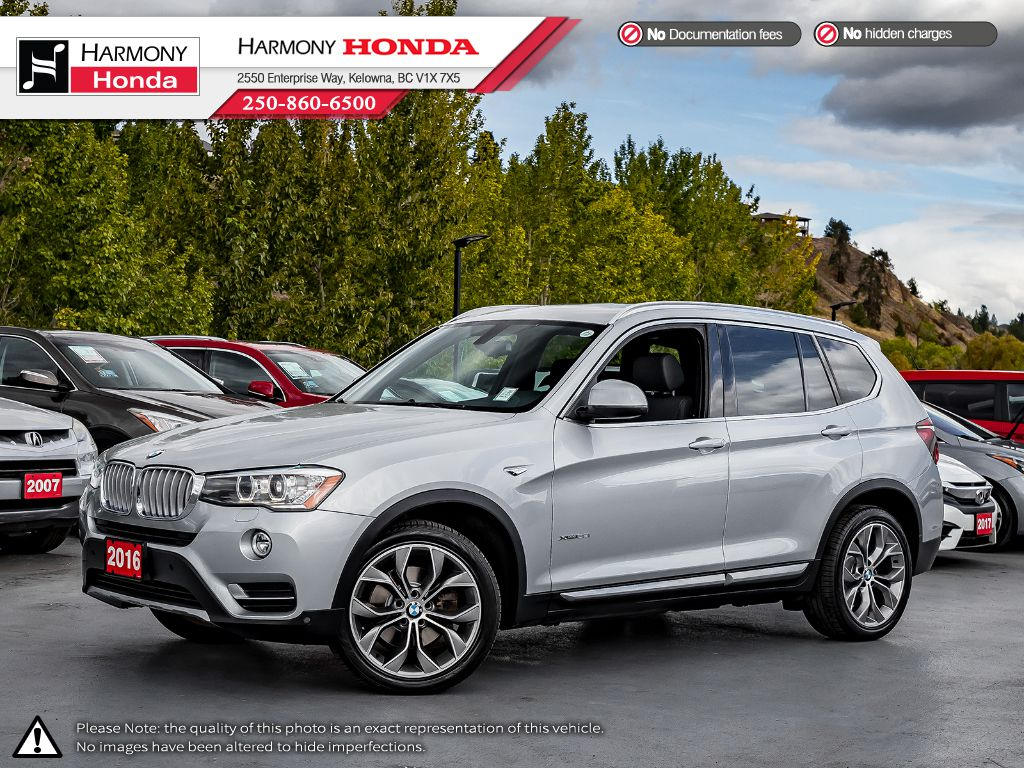 Pre-Owned 2016 BMW X3 XDRIVE 28I - BC VEHICLE - NO ACCIDENTS - LOW KM - BACKUP CAM - NAV SYSTEM - PANORAMIC SUNROOF